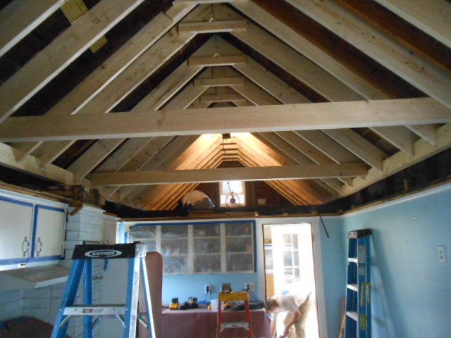 Flat to Lofted Ceiling - Installed Additional Framing & Support (pre insulation)