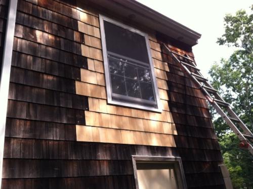 window install, shake siding installation