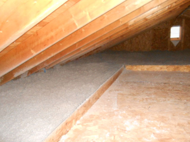 Attic - raised storage platform & cellulose