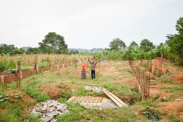 "Nyla and Bernard Muksa on the foundation of the Suubi ""Hope"" hospital in Budondo, Uganda"