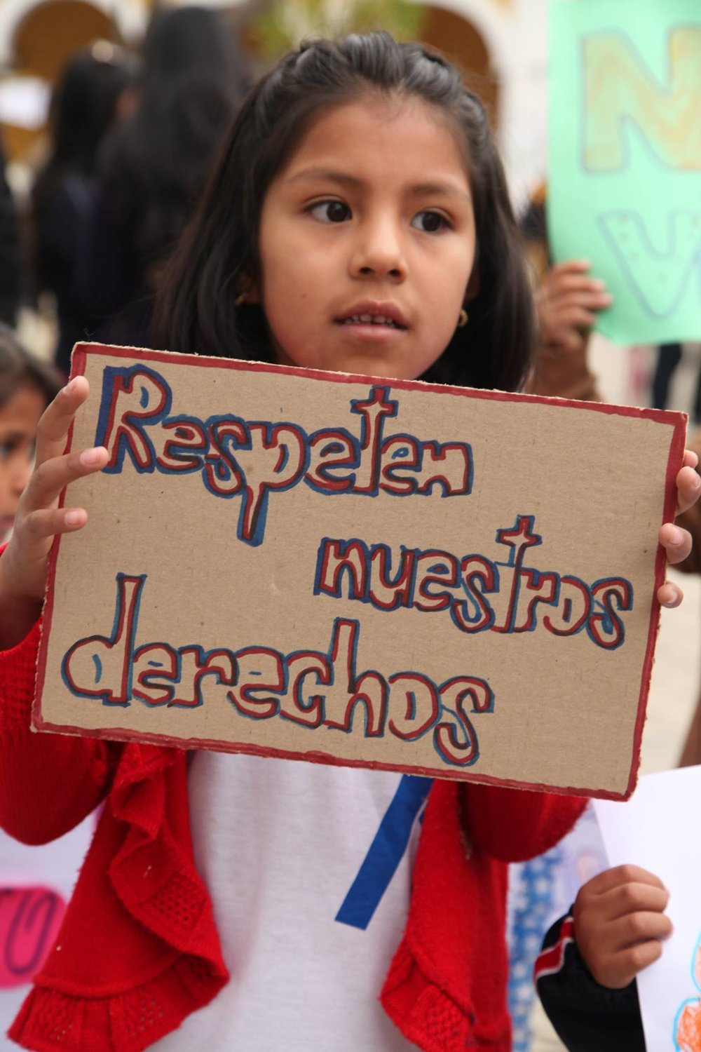 Girl proclaims her rights in Bolivia's National March against Sexual Violence