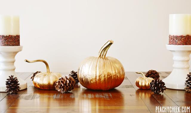 Gold Pumpkins DIY on  Peachy Cheek