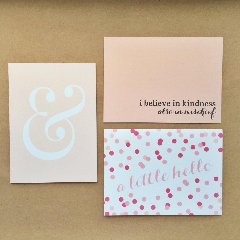 Blush Ampersand, Peach Mischief & A Little Hello Notecards| $1.50