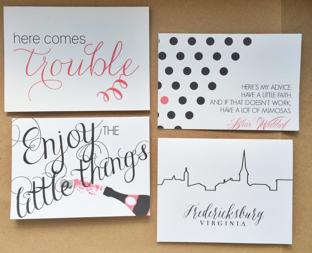 Here Comes Trouble, Blair Waldorf, Enjoy the Little Things, Fredericksburg, VA  Notecards  | $1.50