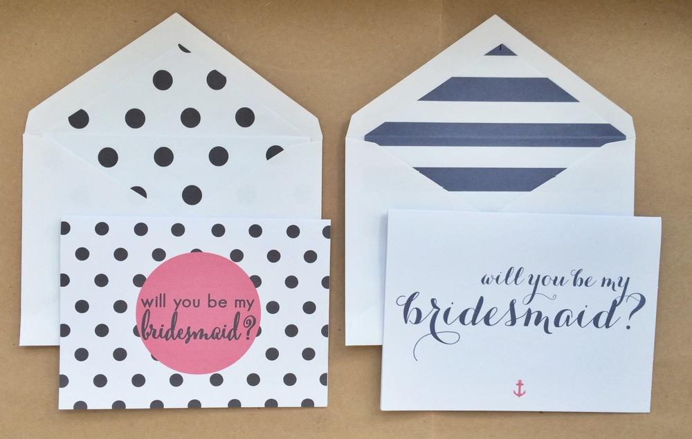 Polka Dot Bridesmaid, Striped BridesmaidNotecards | $1.50