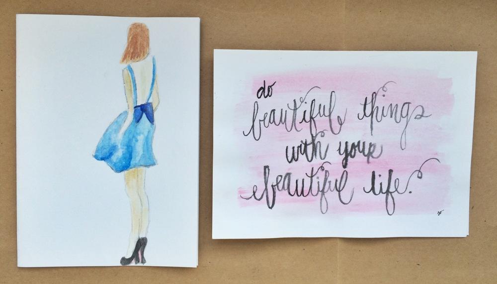 Girl Watercolor, Beautiful Life WatercolorNotecards | $1.50