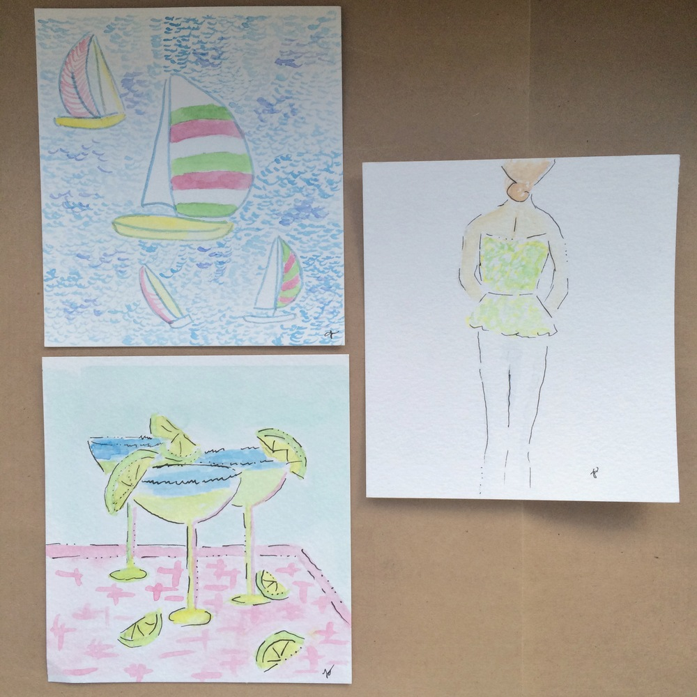 Lilly Inspired Boats, Margaritas, Girl 5x5 Watercolors   $5