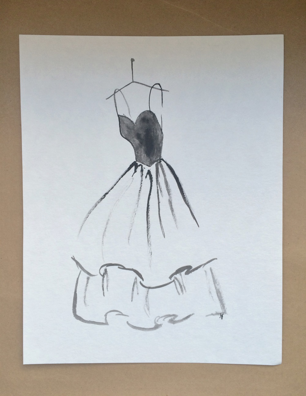 Black Dress 7.75x10 Watercolor | $20