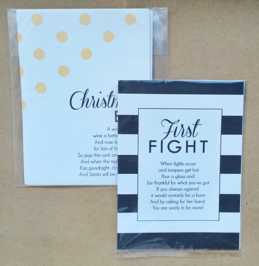 Yellow, Black Wedding Firsts Wine Label Set | $5