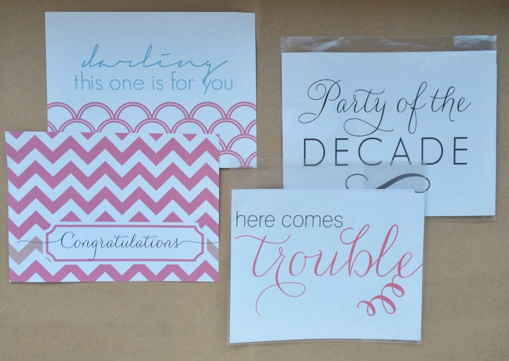 Congrats Chevron/Darling, Trouble/Decade 2 Pack Wine Label Sets | $2