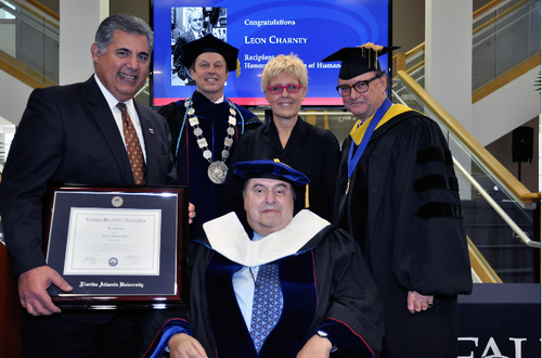 From left: Chair of the Board of Trustees Anthony Barbar,  FAU President Dr John Kelly, Mr Leon Charney, Mrs. Tzili Charney and Provost Dr. Gary Perry