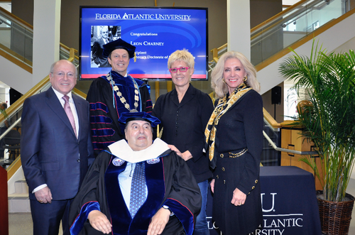 From left: Dr. Malcolm Dorman,  FAU President Dr. John Kelly, Mr. Leon Charney, Mrs. Tzili Charney and Florida Senator Maria Sachs