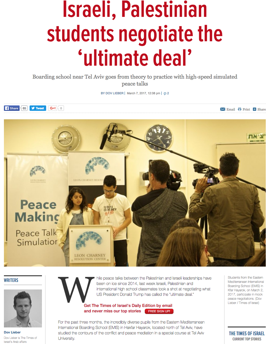 http://www.timesofisrael.com/israeli-palestinian-students-negotiate-the-ultimate-deal/