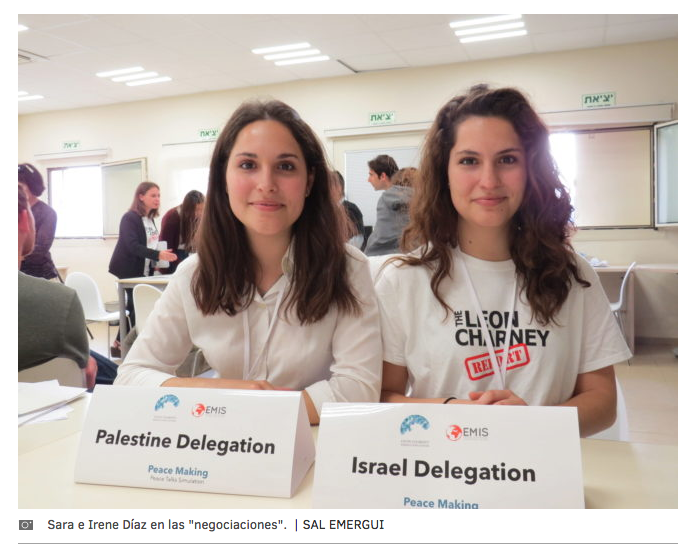 http://www.elmundo.es/internacional/2017/03/08/58bfd0e7e5fdeaa76c8b45bc.html  : two Spanish twins negotiating peace between Israelis and Palestinians