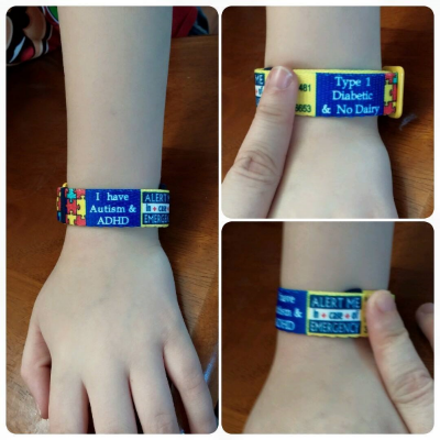 "K. Louia wrote: ""Sooo excited right now!! My son's Alert Me Band came in the mail today!! It turned out wonderful & I love it! My son is fixing to turn 9 & isn't able to communicate his disabilities due to his Speech Delay, this definitely puts a Mother's mind at ease!! Thank you ‪#‎alertmebands‬!"""