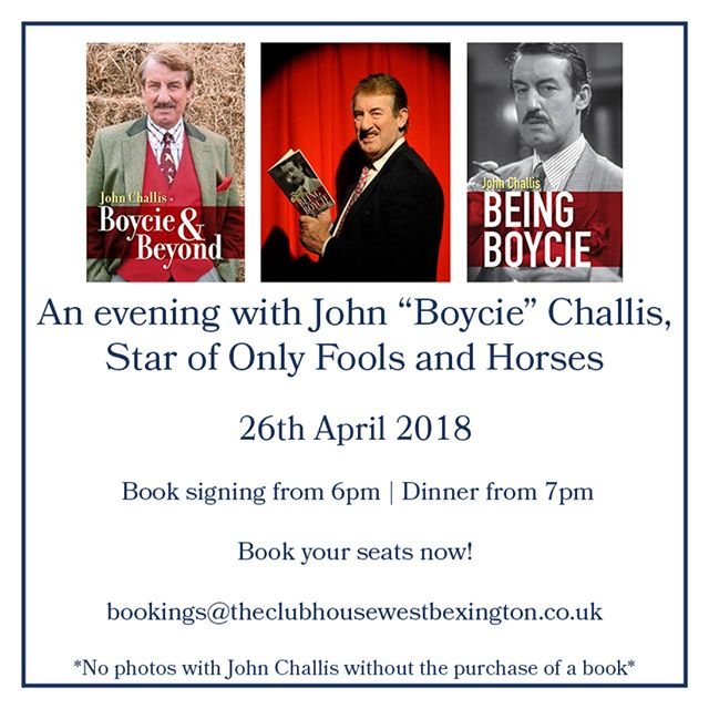 Join us at The Club House for an evening with legendary John 'Boycie' Challis! Bookings are filling up fast, so book your seats today! bookings@theclubhousewestbexington.co.uk . . #dorset #jurassiccoast #restaurant