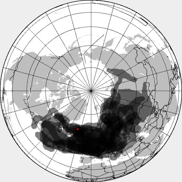 Extent of  Eyjafjallajokull volcanic ash cloud. Photo: Cogiati.