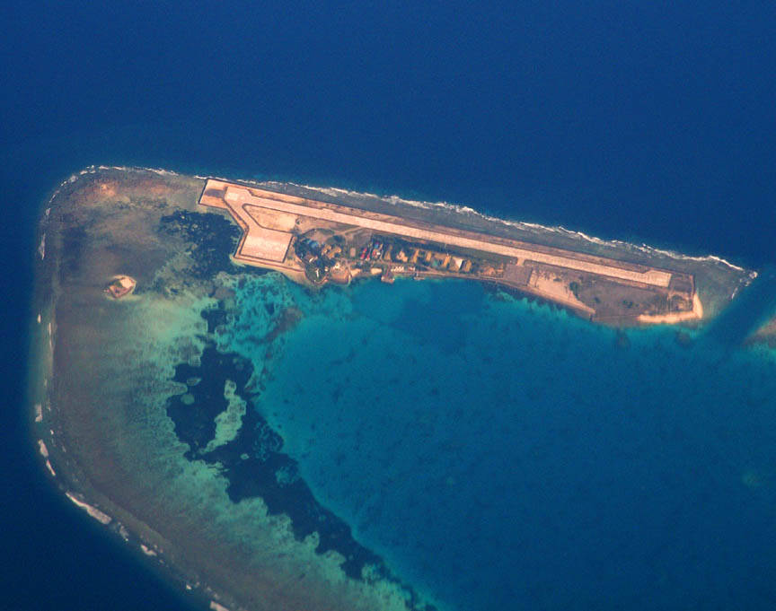 Development on the Swallow Reef, part of the Spratly Islands.  Photo: Storm Crypt.