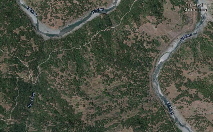 Satellite image of the Island Mountain area and the Eel River. Taken from Google Maps.