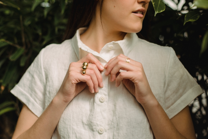 White Corozo buttons on the linen collared blouse - these white corozo buttons are also know as Green ivory, due to their sustainable harvesting and production process, with a very similar aesthetic to ivory.