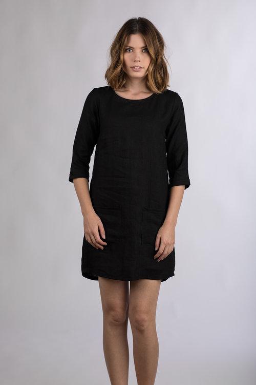 08bcbb8e1d Model No.20 Black Linen shift dress — Pyne   Smith Clothiers
