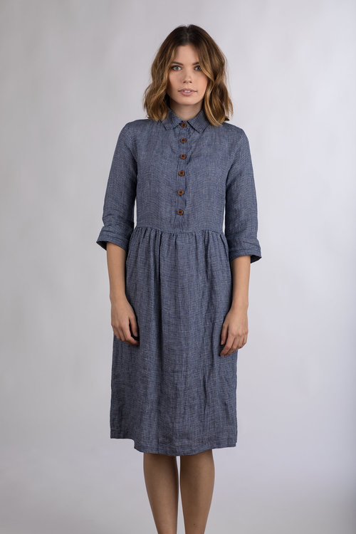 Model No22 Blueberry Check Collared Midi Dress Pyne Smith