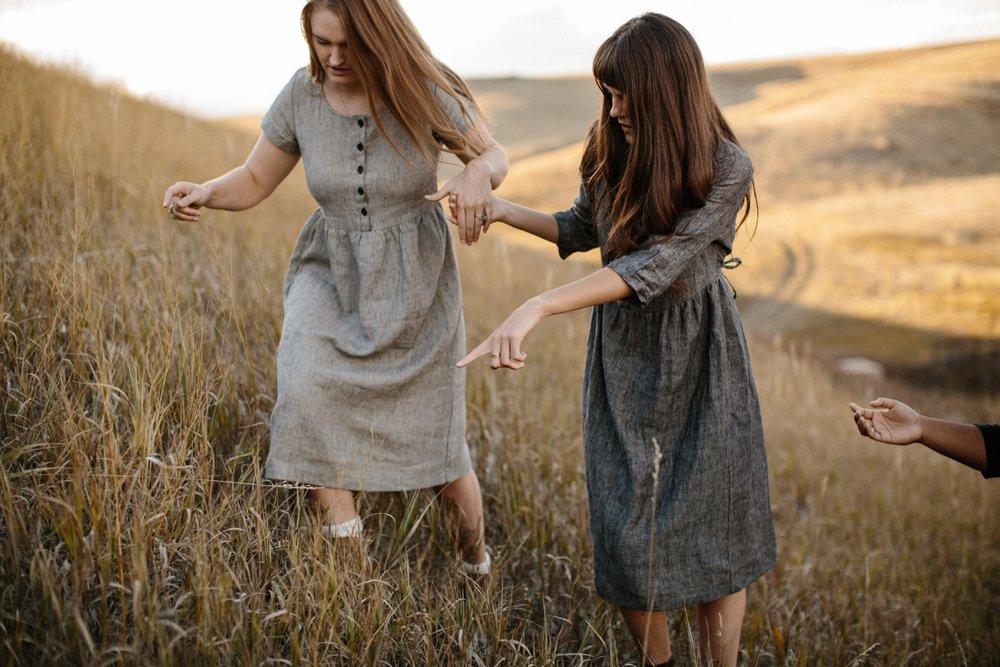 Linen-Dress-Grey-Button up-Mid-Sleeve-Midi-Length-Model-No-12-Railroad-Stripe-Short-Sleeve-No-12-Pyne-&-Smith.jpg