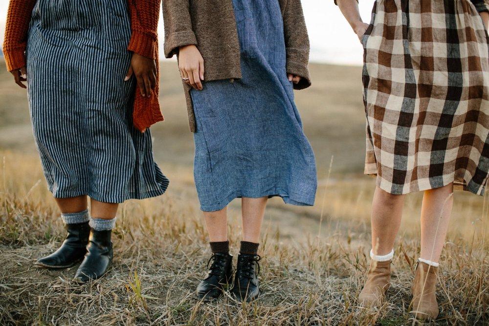 Linen-Dress-Blueberry-Check-High-Neck-Mid-Sleeve-Full-Length-Model-No-14-Indigo-Stripe-Button-Up-Full-Length-No-11-Dartmoor-Check-Midi-Length-Legs-Pyne-&-Smith.jpg