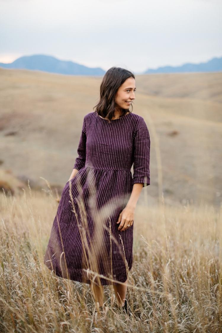 Linen-Dress-Thistle-Mid-Sleeve-Full-Length-Waist-Tie-Model-No-19-Front-Pyne-&-Smith.jpg