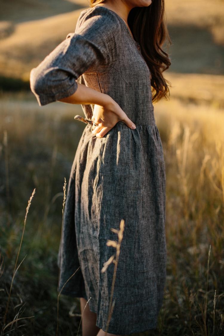 Linen-Dress-Grey-Button up-Mid-Sleeve-Midi-Length-Model-No-12-Side-Pyne-&-Smith.jpg