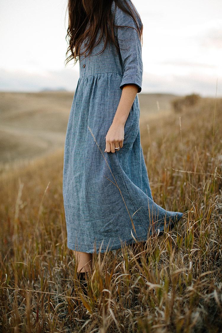 Linen-Dress-Blueberry-Check-High-Neck-Mid-Sleeve-Full-Length-Model-No-14-Side-Pyne-&-Smith.jpg