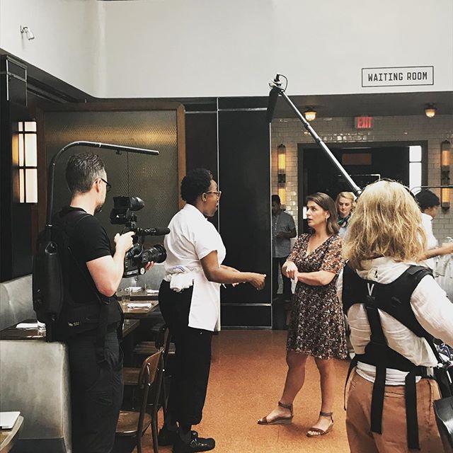 Chef Mashama Bailey and @chefandthef taking a tour of @thegreysavannah , former segregated greyhound station, now restaurant. #achefslife #complicatedsouth
