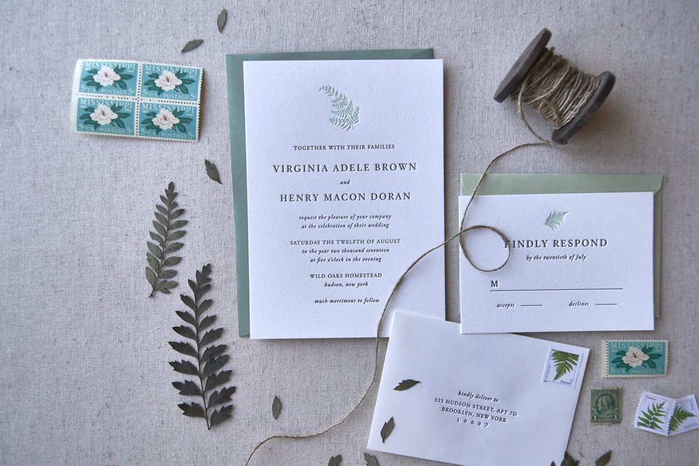 LetterpressFernWeddingInvitation