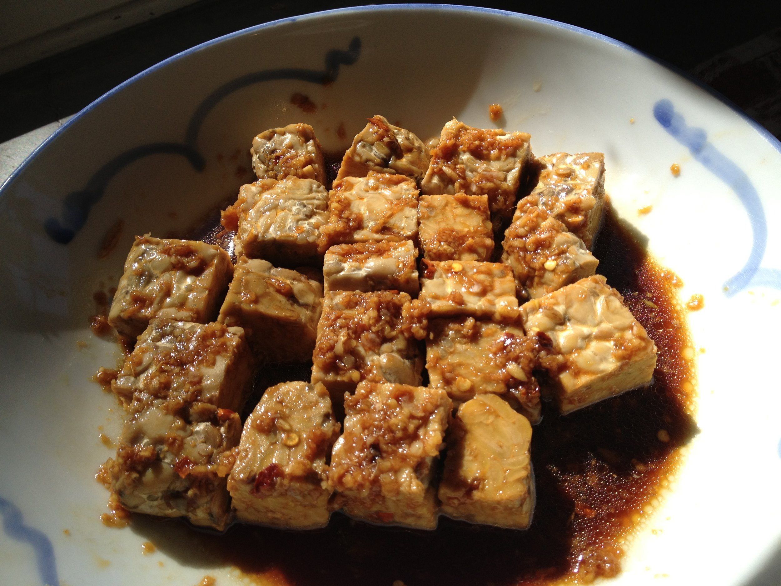Marinating the Tempeh