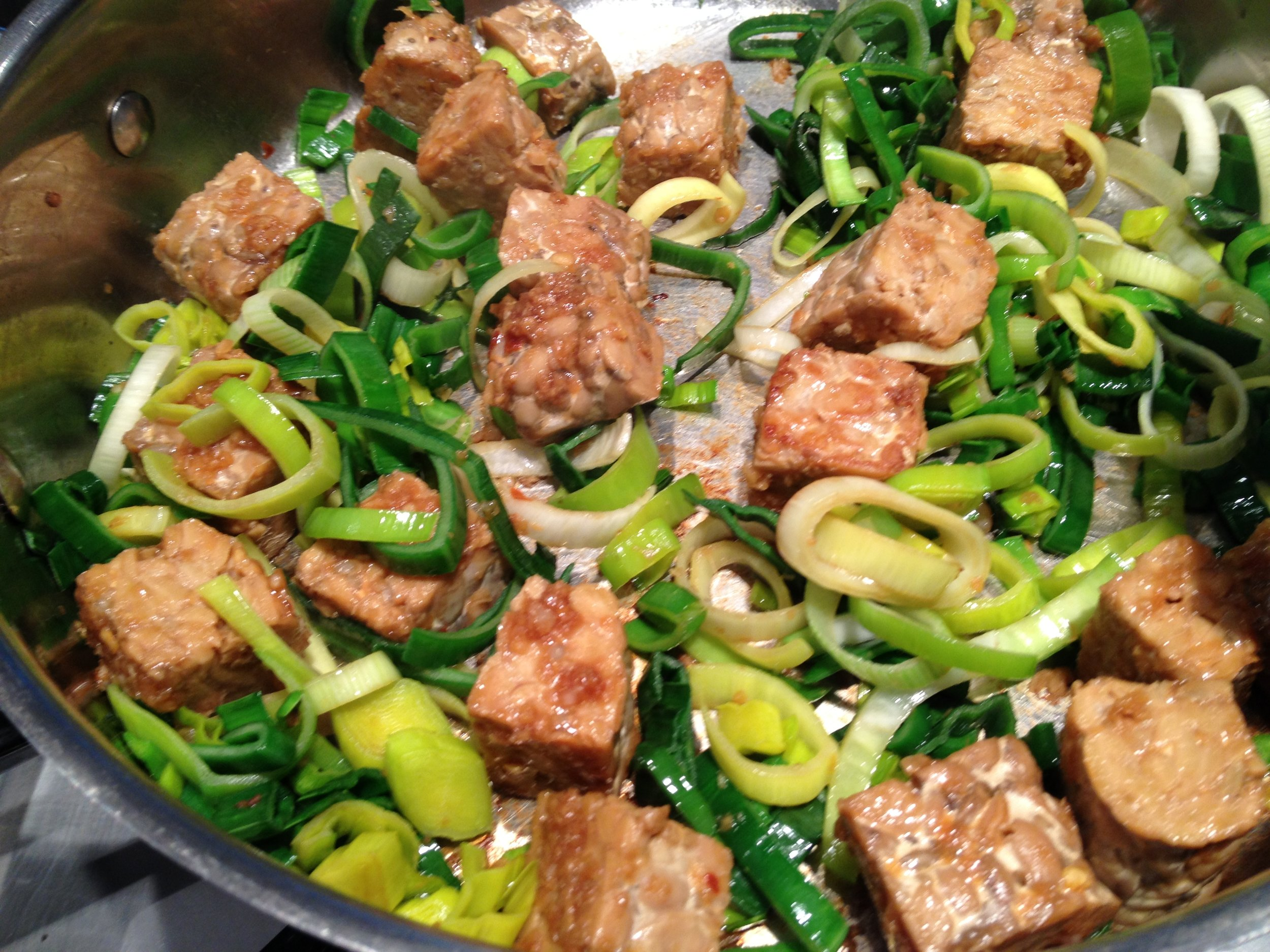 Tempeh and leeks