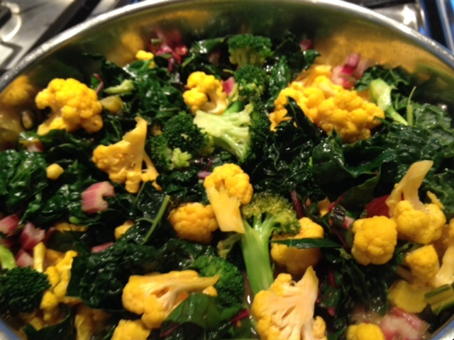 Orange Cauliflower with Broccoli, Kale and Chard