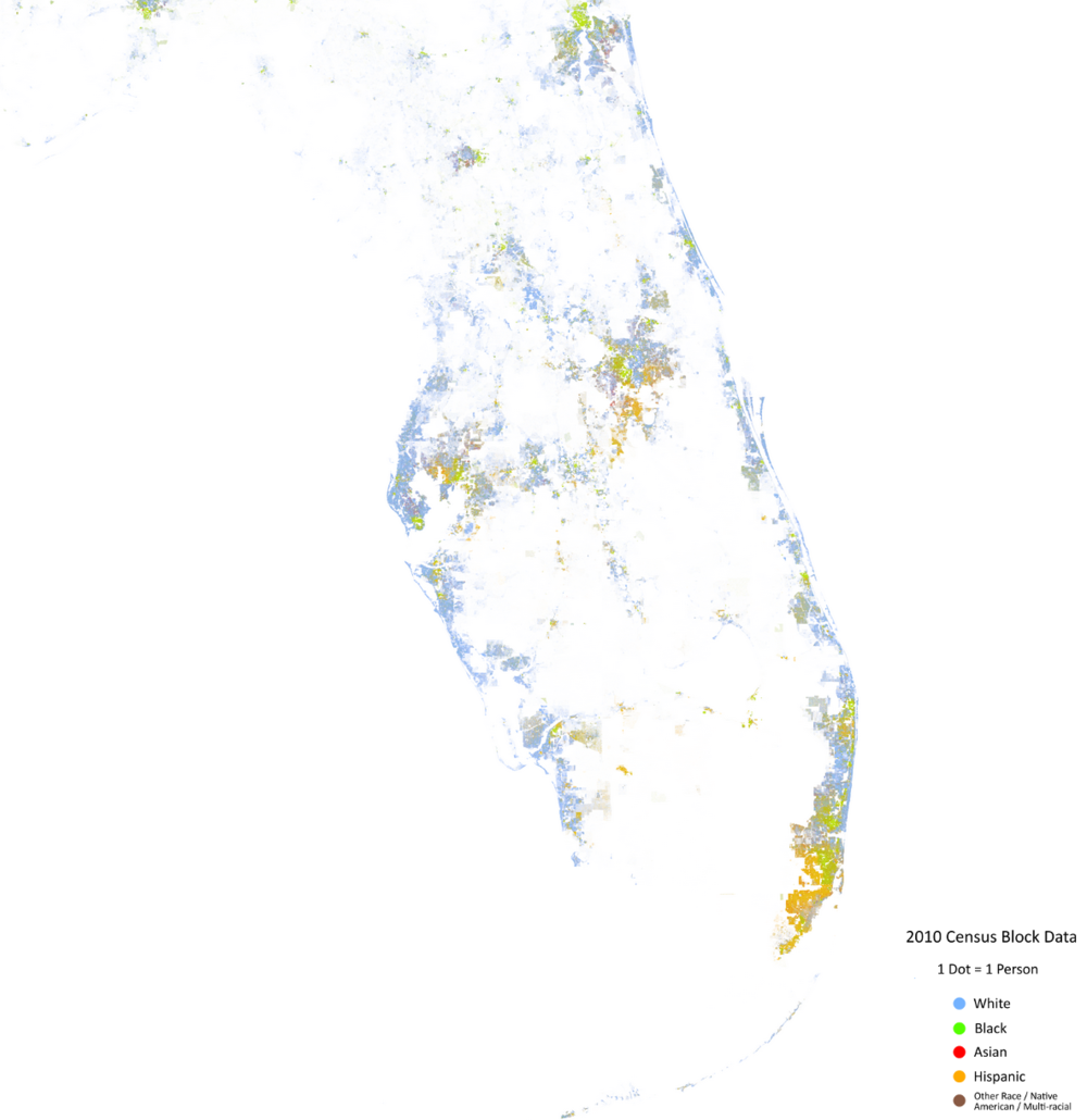 The Geography Of The Races In America  The Electoral Map - Florida map by race