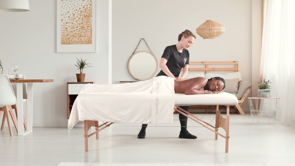 Soothe  is the #1 on-demand massage app that allows users to book a relaxing massage in their home, hotel, or location of choice any day of the week, from 8 am to midnight. Available across 65+ cities, Soothe's network of over 11,000 licensed therapists arrive in as little as an hour with everything needed to create the ultimate spa experience including the massage table, linens, oils, and music. Book in seconds using the Soothe app or visit   soothe.com  .