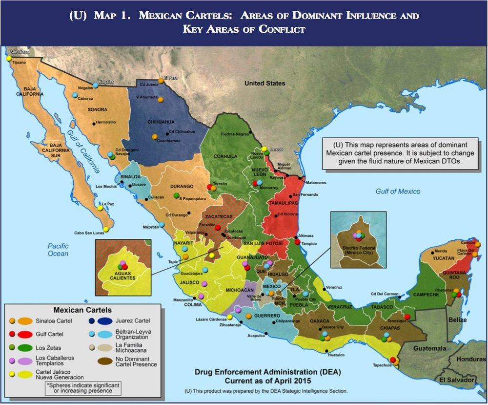 Baja California and Baja California Sur have been considered Sinaloa cartel territory.US DEA 2015 NDTA