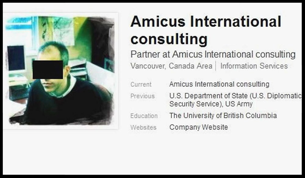 A LinkedIn profile associated with Amicus International Consulting. The photograph has been anonymised by the South China Morning Post as the identity of the man is unknown . Photo: LinkedIn