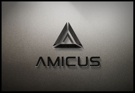 The logo for Amicus International Consulting. The company's name is Latin for  friend.