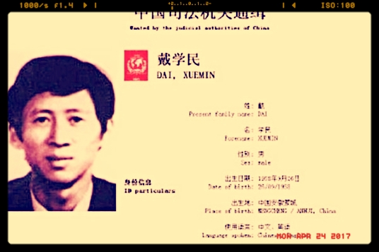 The wanted page of Dai Xuemin