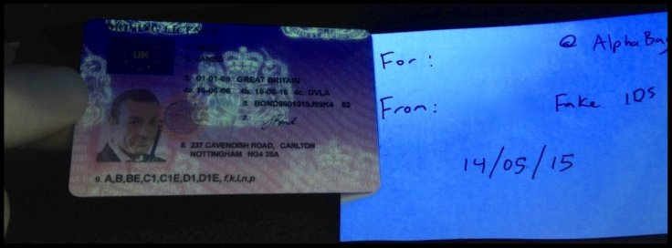 The fake license includes holograms only visible under a UV light  IBTimes UK