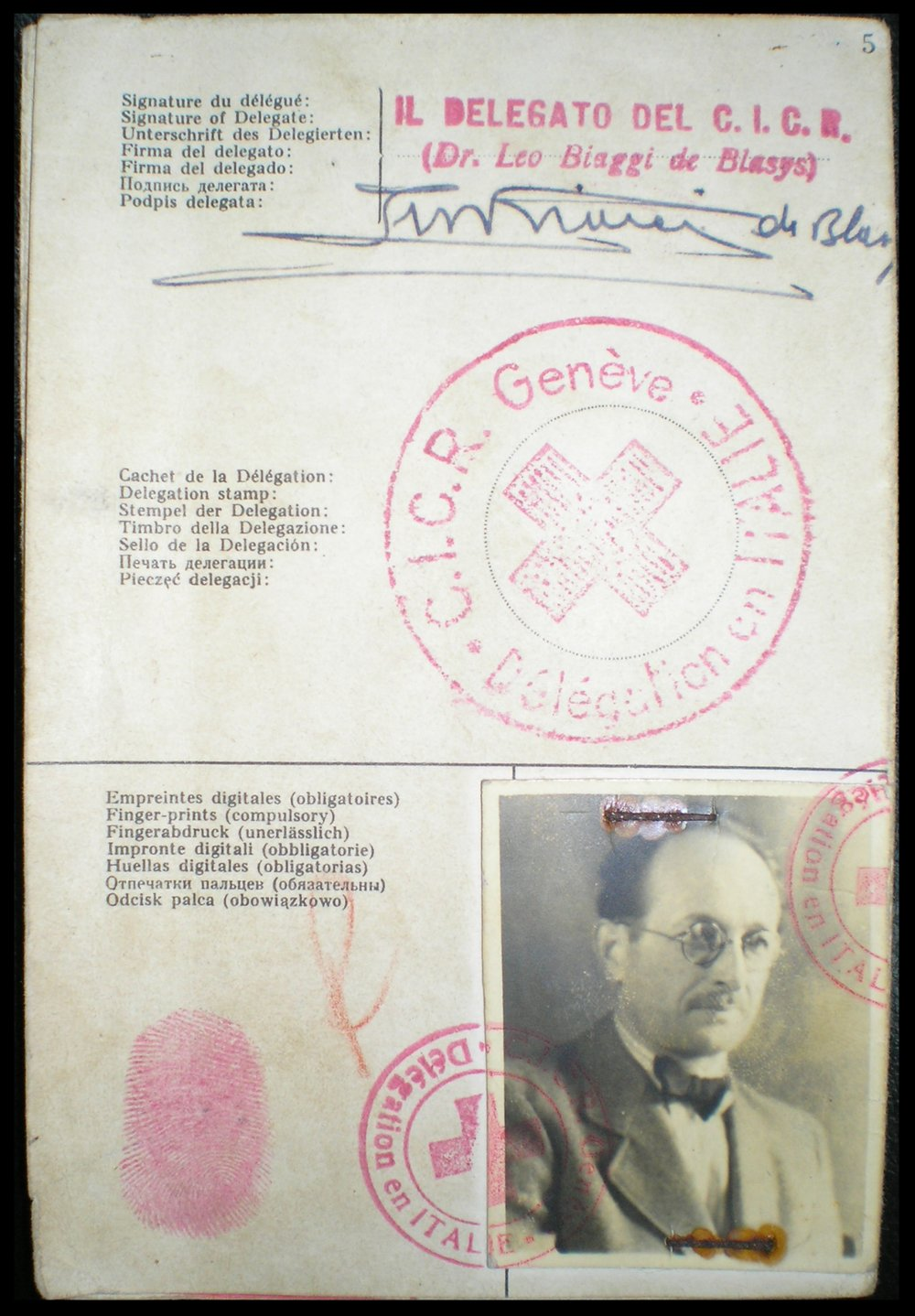 The Red Cross identity document Adolf Eichmann used to enter Argentina under the fake name Ricardo Klement in 1950, issued by the Italian delegation of the Red Cross of Geneva