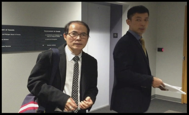 Immigration consultant Eric Leung, left, and client Guo Liang Lin. Lin admits he signed documents that said he lived in Canada three times longer than he actually had to obtain permanent residency. Lin was working with a different immigration company at the time, which he blames for falsifying records . (Manjula Dufresne/CBC )