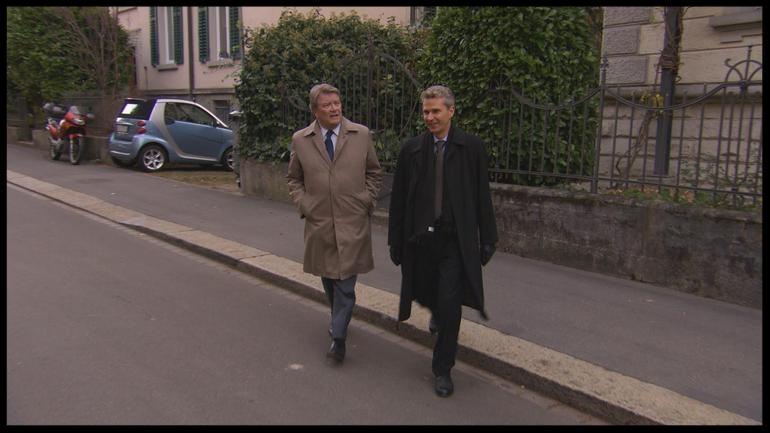 60 Minutes' Steve Kroft, left, and Chris Kalin, chairman of Henley and Partners  CBS NEWS