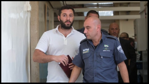Gery Shalon, suspected of being involved in several fraud schemes tied to the NYSE and a massive data breach at JPMorgan Chase & Co. seen at the Jerusalem Magistrates' Court, July 22, 2015.  (Yonatan Sindel/Flash90)