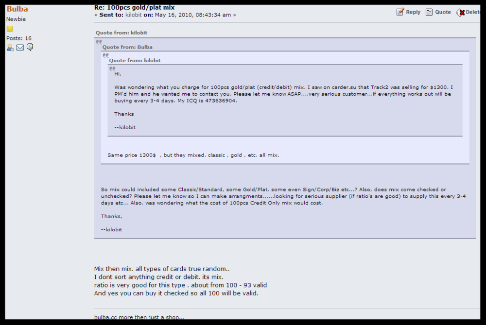 "A private message between card merchant ""Bulba"" and an interested buyer on the fraud bazaar carder[dot]pro."