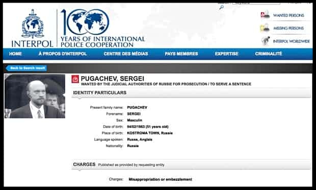 Interpol's website page on Sergei Pugachev, a Russian banker once close to Vladimir Putin.  Photograph: AP