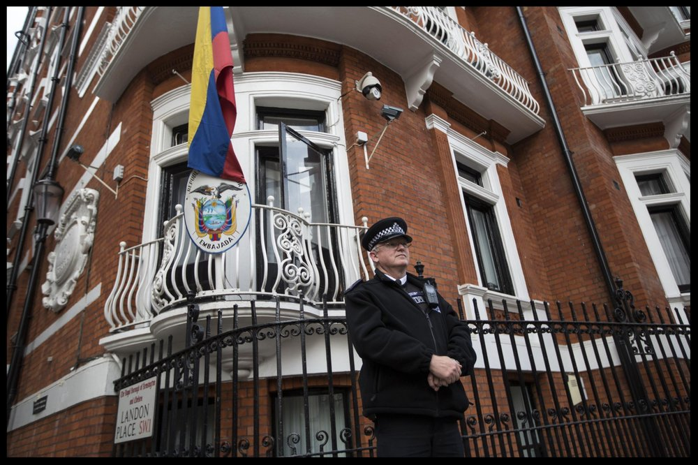 Ecuador's embassy in London – what would the implications be if the police went in?  Photograph:Pete Riches/Demotix/Corbis
